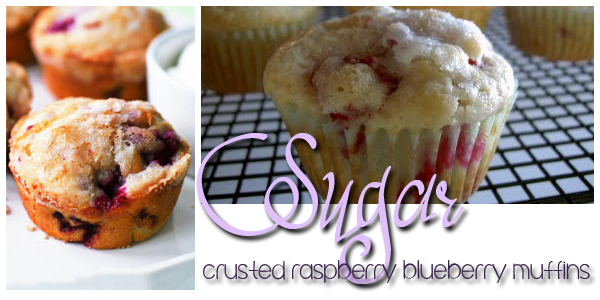 Sugar-Crusted Raspberry Blueberry Muffins   Om Nom Nom - Eats & Treats